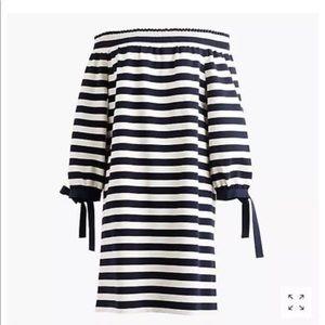 JCrew striped over the shoulder dress